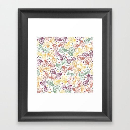 Whimsical bicycle pattern & retro polka dots Framed Art Print