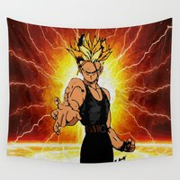 dragonball Wall Tapestries featuring Dragonball Z Trunks sketch colored by bernardtime