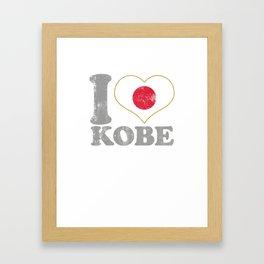 I Love Kobe Japan Nihon Nippon Japanese Flag Pride Framed Art Print