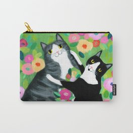 lovebirds CATS in flower garden painting by TASCHA Carry-All Pouch