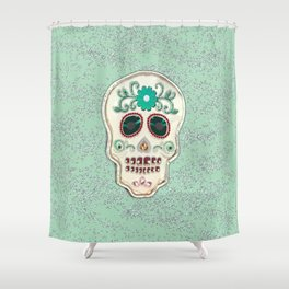 Fringy Flower Skull Shower Curtain
