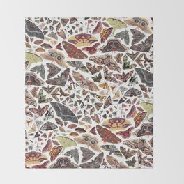 Moths of North America Pattern Throw Blanket