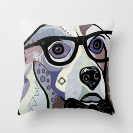 Sophisticated Beagle in Denim Colors Throw Pillow