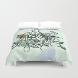 "Pen and ink drawing illustration,""LOVE"" wall art, home decor design Duvet Cover"