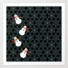 Snowing snowmen Art Print