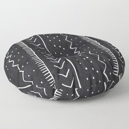 Moroccan Stripe in Black and White Floor Pillow