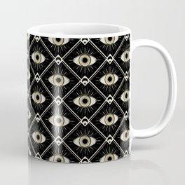 Esoteric eyes and moons geometric on black Coffee Mug