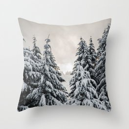 Winter Woods II - Snow Capped Forest Adventure Nature Photography Throw Pillow