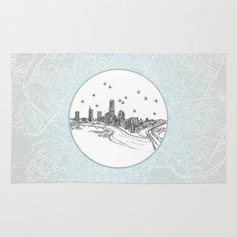 Austin, Texas City Skyline Illustration Drawing Rug