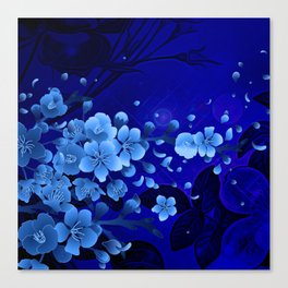 Cherry blossom, blue colors Canvas Print