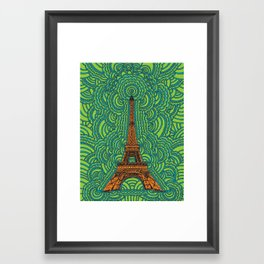 Eiffel Tower Drawing Meditation - orange/green/blue Framed Art Print