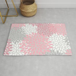 Floral Prints, Pink, White and Grey, Art for Walls Rug