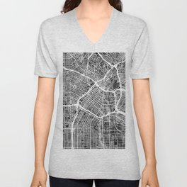 Los Angeles City Street Map Unisex V-Neck