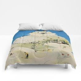 Vintage Adelboden Switzerland Travel Poster - Snowman Comforters