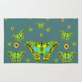 BLUE-GREEN-YELLOW PATTERNED MOTHS YELLOW SUNFLOWERS Rug