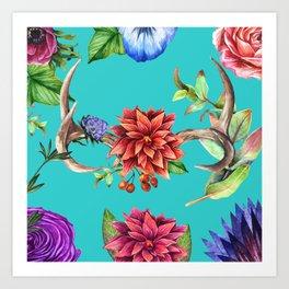 Tropical Antlers Art Print