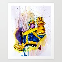 thanos Art Prints featuring Thanos by hbCreative