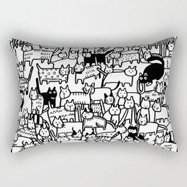 Crazy Cat Society Black and White Illustration Rectangular Pillow