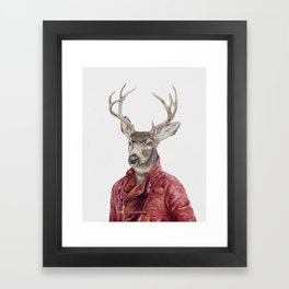 Deer in Leather Framed Art Print