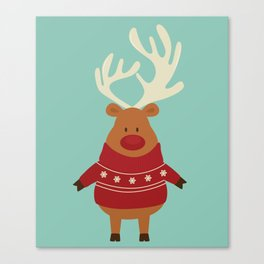 Rudolph Red Nosed Reindeer in Ugly Christmas Sweaters Canvas Print