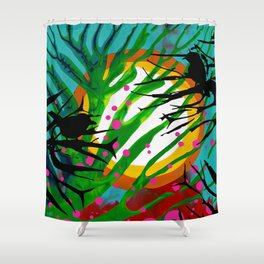 Birds Chatting: 2 birds on a branch chatting about the sun rise / sunset Shower Curtain