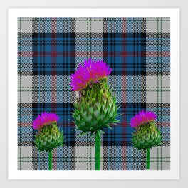 CAMPBELL CLAN GREY TARTAN & PURPLE THISTLES ART Art Print