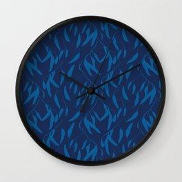 Leaf pattern in blue Wall Clock