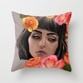 Buried in Petal Throw Pillow