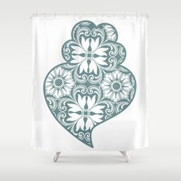 Traditionall portuguese Viana's heart and azulejo tiles background Shower Curtain