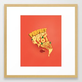 Pepperoni Pizza Lettering Framed Art Print