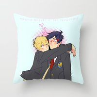 iwatobi Throw Pillows featuring Penguin and Butterfly  by Alyssa Tye