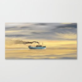 Steamship Freighter heading towards the ocean Canvas Print