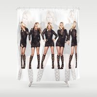 britney spears Shower Curtains featuring Britney Strike a Pose by eriicms