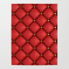 Red quilted texture Poster