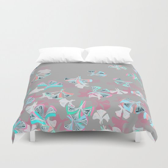 Flight - abstract in pink, grey, white & aqua Duvet Cover
