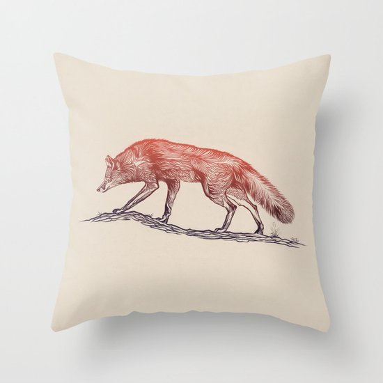 Hunting Fox Throw Pillow
