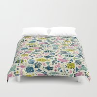 fish Duvet Covers featuring Little Fish by Anna Deegan