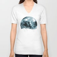 lunar V-neck T-shirts featuring lunar water by sustici