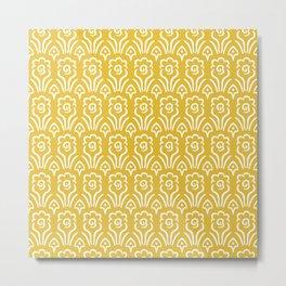 Garden Flowers Pattern Mustard Yellow Metal Print