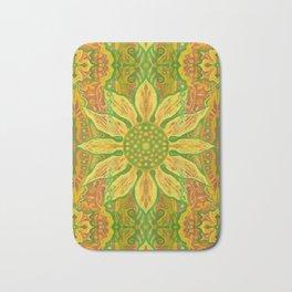 Sun Flower, bohemian floral, yellow, green & orange Bath Mat