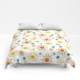 mid century retro sun solar 60's pattern Comforters