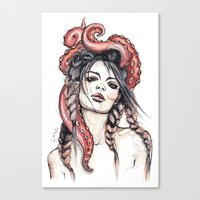 octopus Canvas Prints featuring Octopus by Nora Bisi