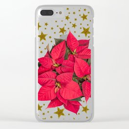 Red Christmas flower and sparkly gold stars Clear iPhone Case