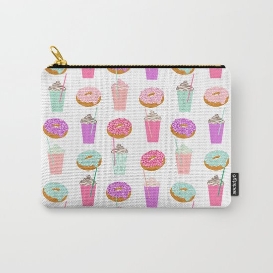 Coffee and Donuts pastel pink mint cute pattern gifts for valentines day love Carry-All Pouch