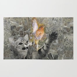 Red in tooth and claw - cat and bird Rug