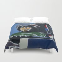 pilot Duvet Covers featuring Fighter Pilot by Rob Howell