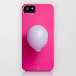 Purple balloon on pink backdrop iPhone Case