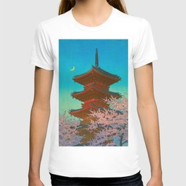 Vintage Japanese Woodblock Print Pastel Colors Blue pink Teal Shinto Shrine Cherry Blossom Tree T-shirt