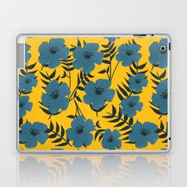 Blue Flowers with Banana Leaves with Yellow Laptop & iPad Skin