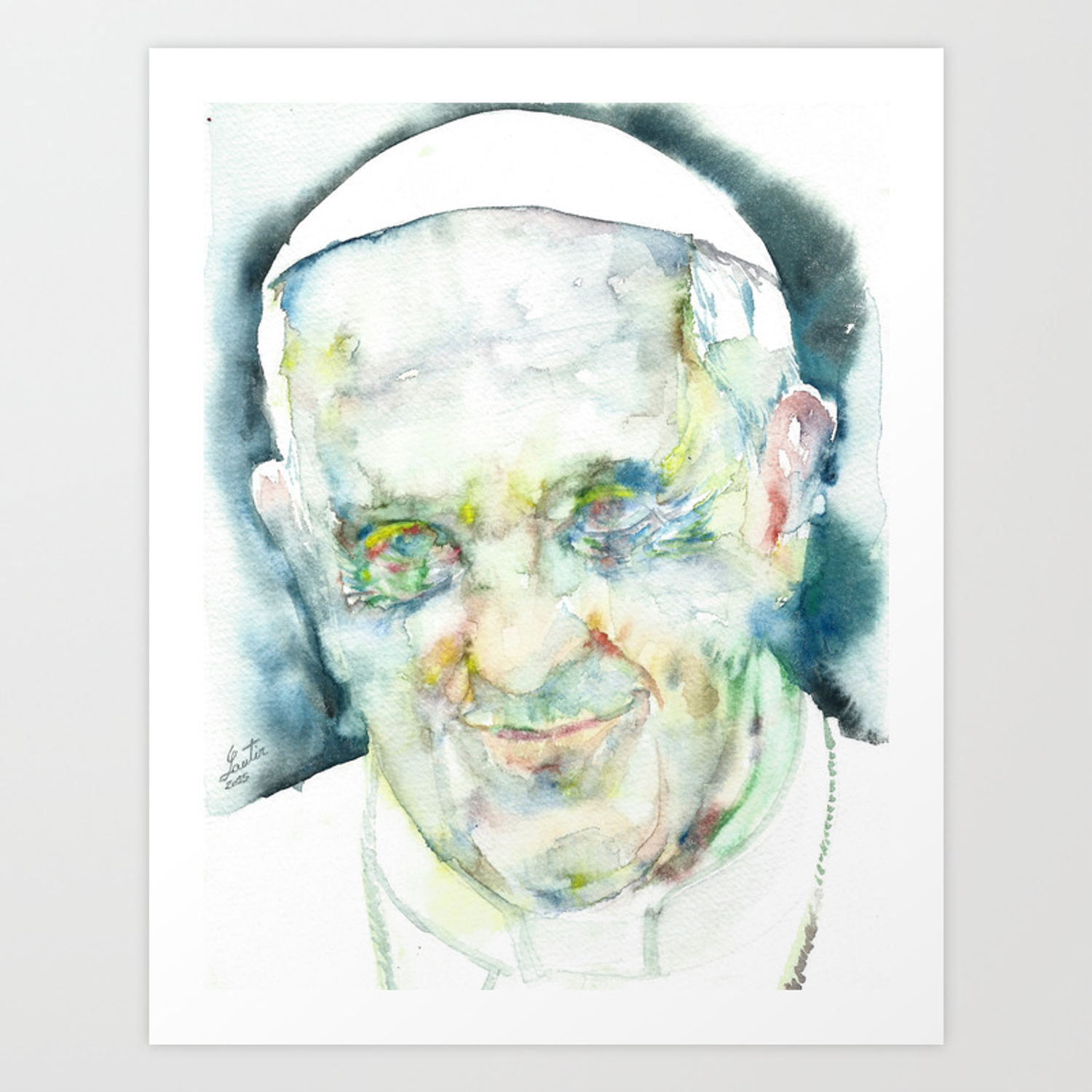print! POSTER various sizes available POPE FRANCIS watercolor portrait